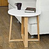 SoBuy® tavolino da salotto, Tavolino da caffè,rotondo, in legno di faggio,FBT36-WN,IT immagine