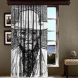 LaModaHome Luxus Fenster Vorhang für Wohnzimmer/Schlafzimmer/100% Polyester/Pflegeleicht/Größe (140x 260,1cm) Man Hat Face Old Schal Schwarz und Weiß Zeichnen Multi Varianten in Store.