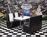 HOWE-Deko Bankgruppe Detroit, American Diner Style; Doppelsäulen Bistrotisch und 2 Bistropolsterbänke; Bezug: schwarz/weiß; Tischplatte polarweiß
