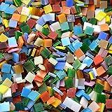 Rorkano 800pièces Carreaux de mosaïque en verre teinté–Couleurs assorties pour art Craft et décorations d'intérieur–0.5kg/0,5kilogram