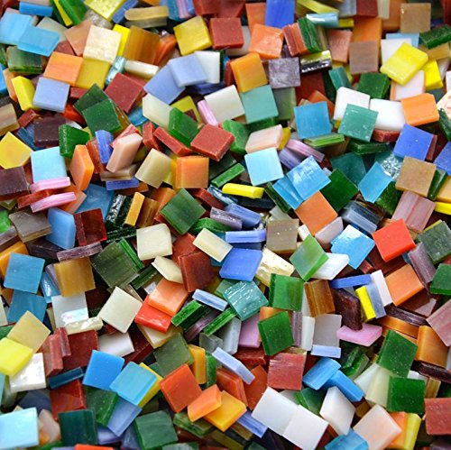 Rorkano 800 Pieces Mosaic Tiles Stained Glass - Assorted Colours for Art Craft and Home Decorations - 0.5kg/1.1lb
