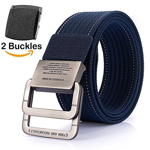 Männer Gürtel, ITIEZY Urban Classics Herren Gürtel Leinwand Canvas Belts Nylon Doppel D-ringe Gürtel + Austauschbare Plastikschnalle- Länge: 125cm, Blau (Classic Belt)