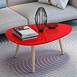 Klapptisch YNN Hölzerner Couchtisch-natürliche Beine rundes Sofa Side Table für Wohnzimmer-Schlafzimmer (Farbe : Red)