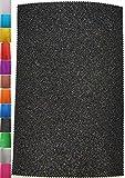 StoffBook 2MM MOOSGUMMI-PLATTE GLITZER BASTELSTOFF 20X29,5CM STOFF STOFFE, D304 (schwarz)