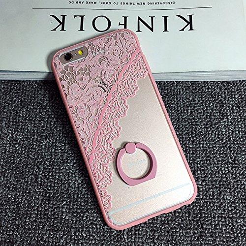 Coque iPhone 6 Plus/6s Plus , iNenk® Corée TPU doux créatifs dentelle rétro fleur bague Mode Design mignon Housse Etui téléphone Shell Protection Sleeve-noir Rose