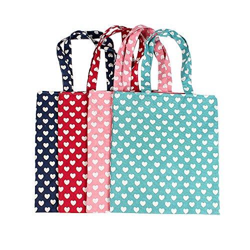 Oath_song Damen Einkaufstasche mit niedlichem Herz-Muster, Segeltuch, Beige (Green-zip Closure), Medium -