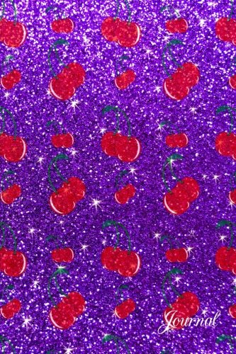 Journal: Faux purple glitter cherry notebook -