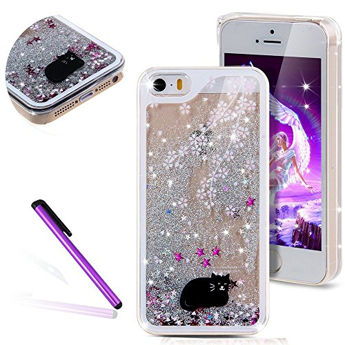 iPhone 6 Hülle iPhone 6S Hülle,iPhone 6S Case,EMAXELERS Hart Plastik Schutzhülle Hülle Case Cute Cherry Blossom Rabbit Muster Hart Transparente Clear Cover Silver Pink Animals Series Sparkles Diamant  Animal Series 6
