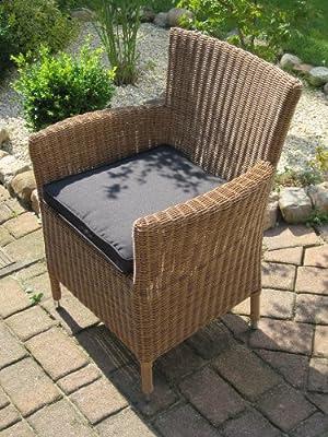 Sessel Stuhl Gartenmobel Rattan Polyrattan Geflecht Natur Beige