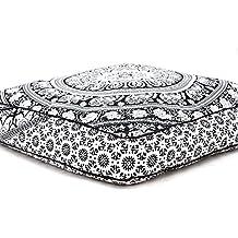 Exclusive Indian cuadrado Urban elefante Mandala diseño suelo almohada cubierta Otomano Puf infantil cojín caso Hippie manta meditación al aire libre cama para perros/mascotas cama por Bhagyoday Fashions