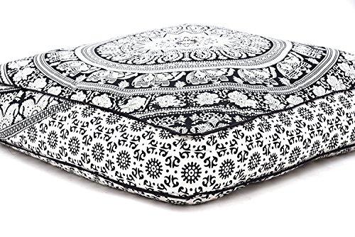 Exclusif de Bhagyoday Fashions Mandala indien carré avec thème d'éléphant, pouf, housse de coussin, housse de pouf ottoman, coussin de méditation hippie, pour l'extérieur, lit, chien, animal domestique