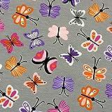 0,5m Jersey Schmetterlinge auf grau 95% Baumwolle 5%