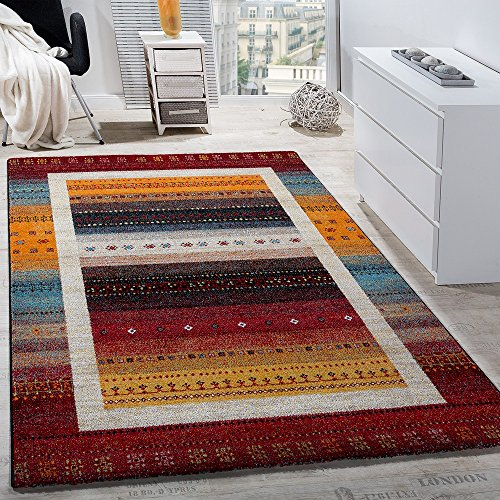 Paco home tappeto di design moderno loribaft stile nomade bordi fantasia effetto gabbeh rosso colorato, dimensione:200x290 cm
