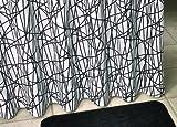 Debel 180x 230cm kreuzweise Duschvorhang 100% Polyester, Schwarz