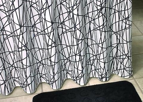 Duschvorhang Textil Schwarz Weiss Criss Cross 180 cm breit x 230cm hoch