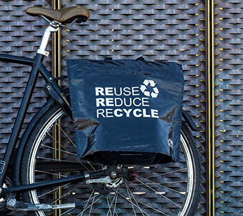 BIKEZAC® Clip-On EINKAUFS-FAHRRADTASCHE | Einseitige Einkaufstasche | Gepäckträgertasche | Faltbar | Wasserabweisend | Trageschlaufen | Ökologisch, BikeZac:Black Recycle