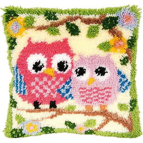 Eule Knüpfkissen für Kinder und Erwachsene zum Selber Knüpfen DIY Kissen Latch Hook Kit 41 x 41 cm ()