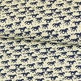 Stoffe Werning Baumwolljersey Kleine Pferde Blau 180 cm Breit Kinderstoffe - Preis Gilt für 0,5 Meter -