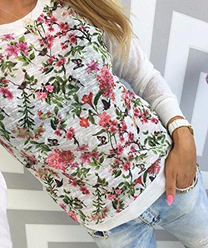 QIYUN.Z Femmes Occasionnels Petit Imprimé Floral À Manches Longues Pulls Pulls Molletonnés Blanc