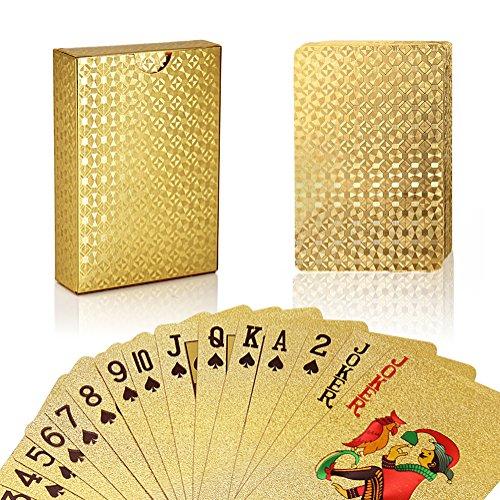 Joyoldelf permium Spielkarten Pokerkarten Skatkarten,mit 24K Goldfolie Poker,aufwendig Aussehen - Hoch Qualität für Ihr Poker Vergnügen (Machen Farbe Mischen Karte)