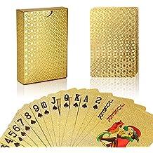 Lujo 24K hoja de oro Poker Naipes Cubierta Carta de Baralho con Idea Box buen regalo