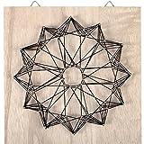 Kit String Art modèle Rosace forme carré en bois brut 22 x 22 cm pour la déco DIY