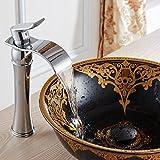 Todo contemporánea cobre baño grifo del fregadero del recipiente de la cascada para lavamanos bañera Vanidad grifos del lavabo de mezclador del grifo, acabado en cromo