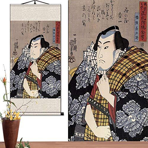 JZGDH Rollbild Ukiyo-E Japanische Brauch 60X130Cm DIY Naturholz Foto/Bild/Leinwand Malerei/Für Home Hd Print Dekoration Wandkunst Scrollen - Scrollen Leinwand