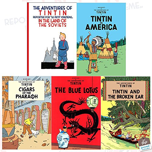 The Adventures of Tintin Collection Series 1 : 5 Books Set With Gift Journal (Tintin in the Land of the Soviets, Tintin in America, Cigars of the Pharaoh, The Blue Lotus, The Broken Ear)