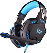 Kotion Each Over the Ear Headsets with Mic & LED - G2100 Edition (Black/Blue)