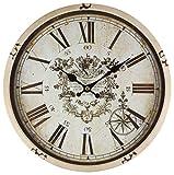 Perla pd design, Orologio da parete, in metallo con quadrante in vetro, design vintage, bianco anticato laccato, diametro circa 30 cm, Metallo, Thorold.