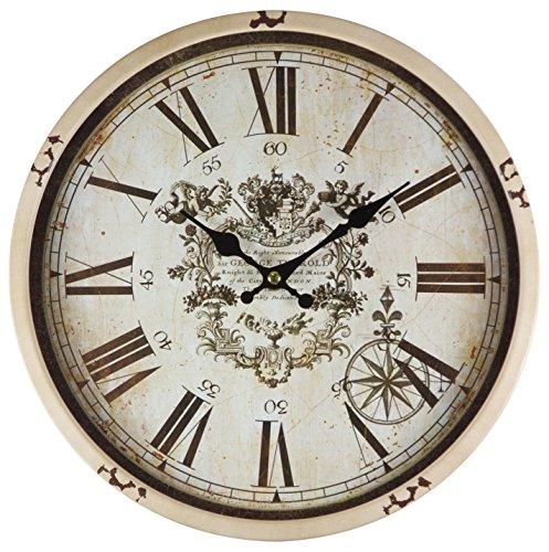 Reloj de pared de metal lacado con esfera de cristal y diseño...