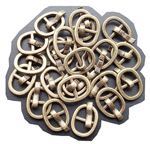 20 piezas BJD zapatos de hebilla, DIY BJD muñeca japonesa bolso hebillas cinturon de hebilla sujetadores de coser (Bronce)