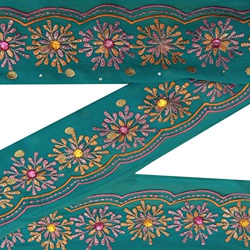 Indische Jahrgang gestickte gebrauchte Sari Trim Blue Wrap Ribbon Nähen 1YD Grenze (Gestickte Ribbon Trim)