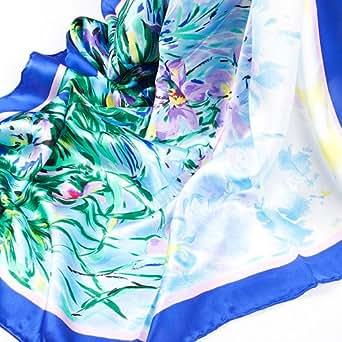 Prettystern P824 -90cm Laurent Monteil Paris 90cm carré en pure soie Foulard Echarpe Art impression - Iris / Schwertlilien
