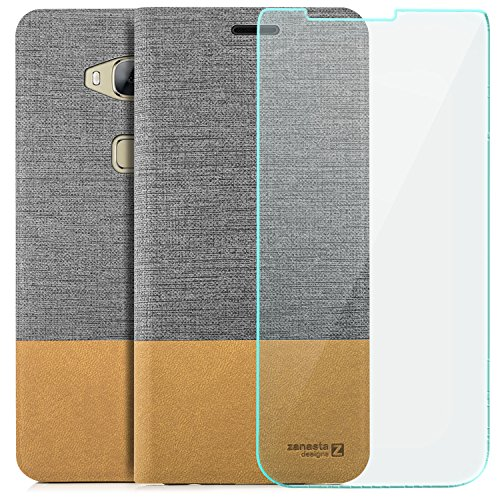 zanasta Tasche kompatibel mit Huawei GX8 (G8) [RIO-L01] | Hülle + Displayschutzglas [ Schutzfolie aus gehärtetem Glas ] Flip Case Slim Schutzhülle Handytasche mit Kartenfach, Standfunktion |Grau