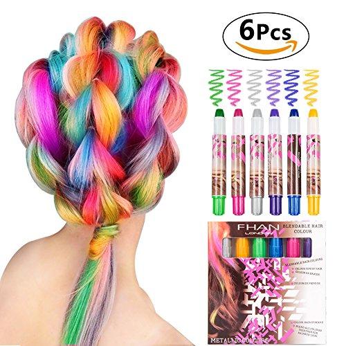 WloveTravel Haarkreide Geschenke für Mädchen Kinder 6 Farben Natürliche Haare Kreide Stifte, Ungiftig, Einfach zu Entfernen, bei allen Haarfarben Funktionieren für Geburtstagsparty Cosplay DIY, Geeignet für 5 6 7 8 9 + Jahre alt Mädchen