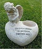 Engel sitzend auf Herz / Grabschmuck Grabdeko *für Grabkerze* grau-antik 16 cm