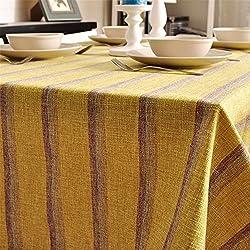 CzJoy Mantel de Lino Rectangular Rayas Antimanchas Lavable,Estilo Moderno Diseño Simple del Manteles para Cocina Restaurante Café Boda Partido,Amarillo,140x250cm