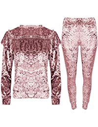 Be Jealous Womens Crushed Velour Velvet Ladies Ruffle Frill Jogging Loungewear Tracksuit Set UK Plus Size 8-22