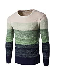 Elonglin Mens Knitting Sweater Gradient Color Fashion Pullover Fin Slim Fit