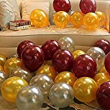 #10: Theme My Party Latex Metallic HD Balloons (Golden/Silver & Brown_Pack of 50)