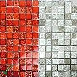 Mosaikfliesen Georgia Glas Naturstein Mix | Wand-Mosaik | Mosaik-Fliesen | Naturstein-Mosaik | Fliesen-Bordüre | Ideal für den Wohnbereich und fürs Badezimmer (auch als Muster erhältlich) (Matte, Rot) (Muster, Rot)