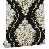 LoaiZh Moderne Luxus Schwere Textur Damast Tapete Schwarz/Gold/Braun/Silber 3D Wohnzimmer Schlafzimmer Haus Kunst Dekor 0.53mx10m