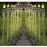 12 Gartenfackeln Fackeln 90 cm Naturfarbe Bambus Umweltfreundlich | Lange Brenndauer - Nachfüllbar | Bambusfackel Ölfackel für Garten / Terrasse