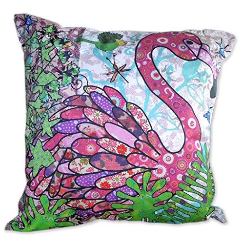 Flamingo Coussin et pad by Moll ymac, oiseaux exotiques Coussin décoratif housses - contemporain classique - Fabriqué en Grande-Bretagne - 100% coton - Coussin Stylo inclus - 44 x 44 cm