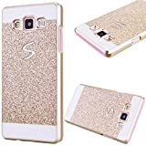 GrandEver Hard PC Case for Samsung Galaxy A3 2015 A300 Rigid Glitter Back Cover Solid Color Bling Shiny Sparkle Design Galaxy A3 2015 High Quality Plastic Shell Shockproof Tough Case Cover Flexible Cell Phone Hull for Samsung Galaxy A3 (2015) --- Gold