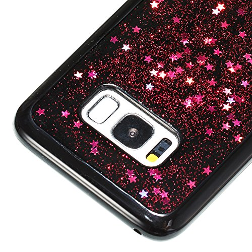 Samsung Galaxy S8 Silicone Coque, Samsung Galaxy S8 Bling Diamant Coque en Silicone Coque Clair,Cozy Hut Bling Glitter Étoile étincelante étoilée design étoilé pour Samsung Galaxy S8 Case Coque Housse Rose ciel rouge