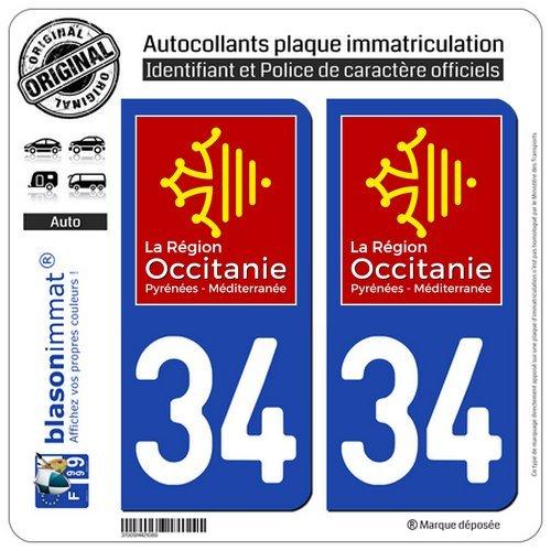 2 STICKERS AUTOCOLLANT DEPARTEMENT 34 PLAQUE IMMATRICULATION REGION OCCITANIE