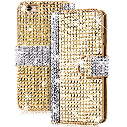 iPhone 6 Hülle, Yokata Luxury Lederhülle Bling Diamant Case mit Card Slot Standfunction PU Handytasche Bookstyle Gold